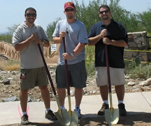 World Series Champion Geoff Jenkins breaking ground with Mike and Charlie Frat for their new custom home
